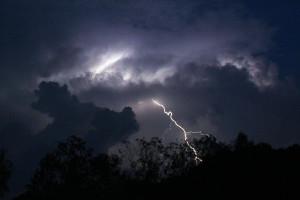 Burza w Bieszczadach noca