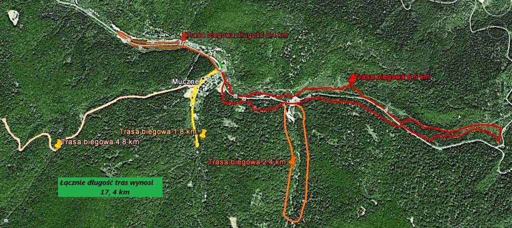Trasy biegowe w okolicy Mucznego