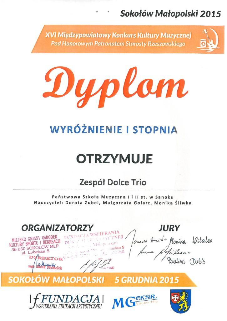 Dyplom Sokolow Malopolski - Dolce Trio