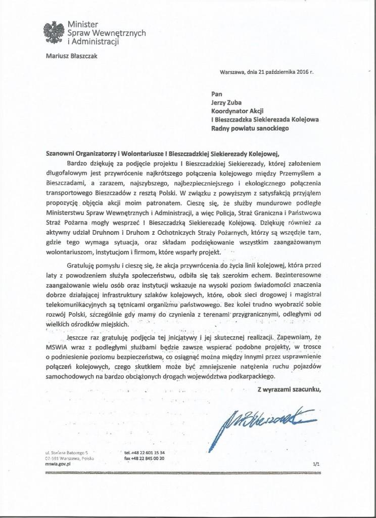 Szef MSWiA dziękuje i gratuluje kolejowym Siekierezadowiczom