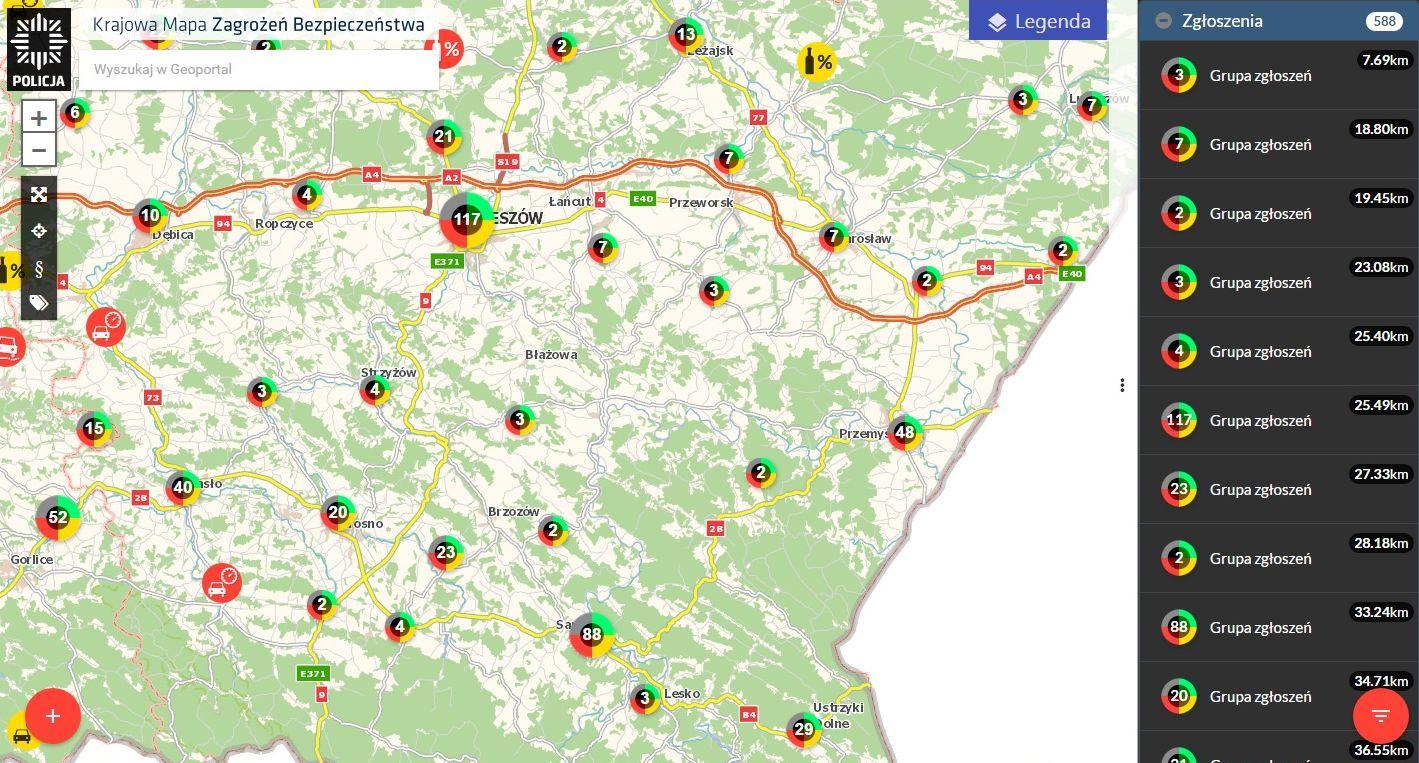 mapa zagrozen