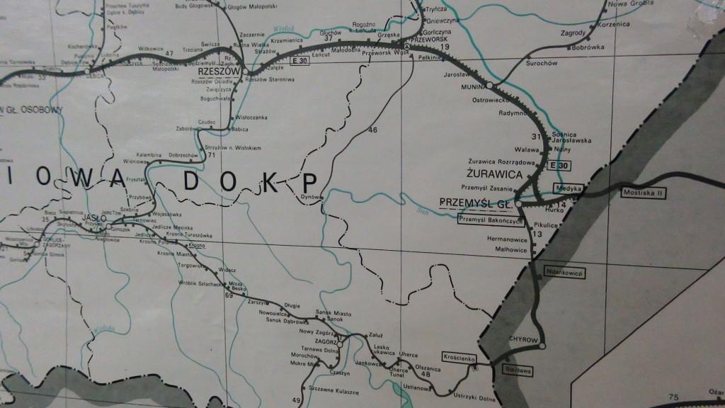 Przebieg linii kolejowych w naszym regionie