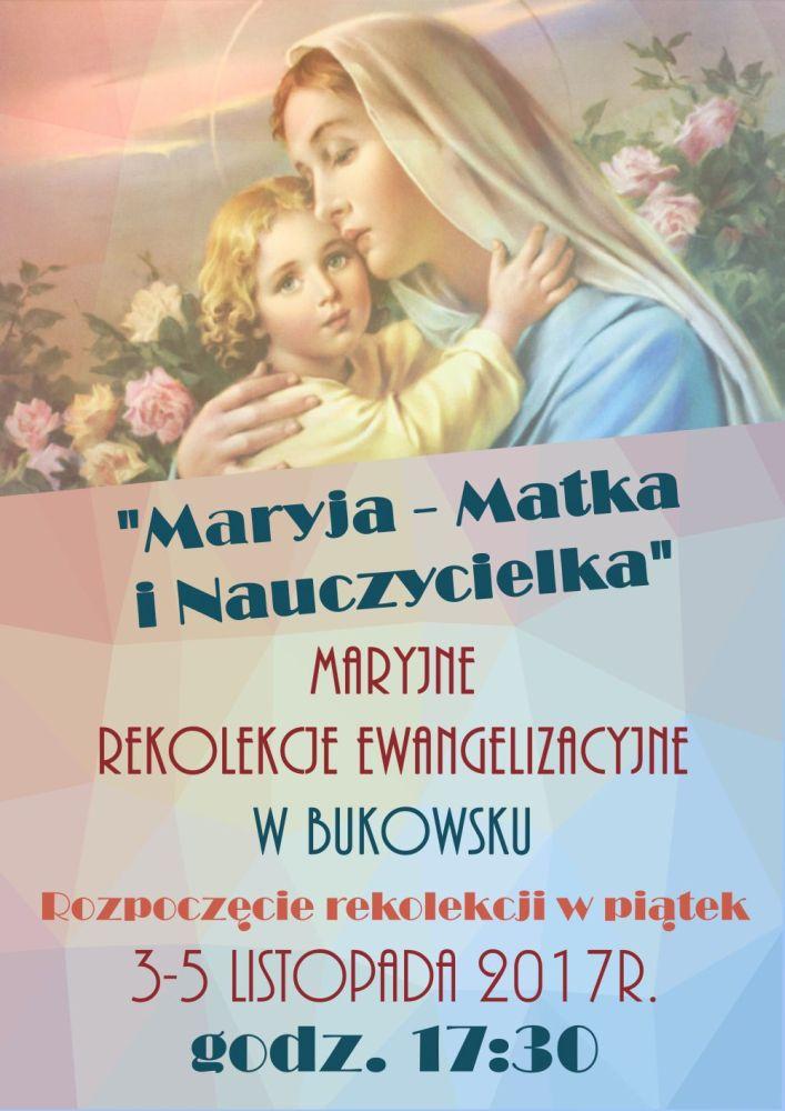 rekolekcje ewangelizacyjne - bukowsko plakat