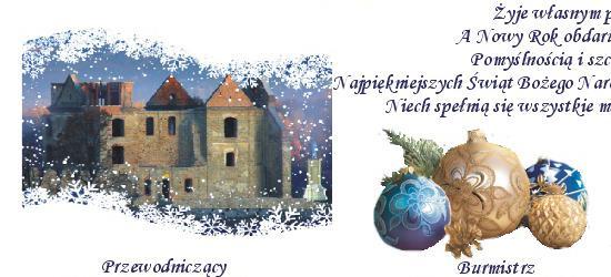 Życzenia świąteczne składa przewodniczący Rady Miejskiej oraz burmistrz Zagórza