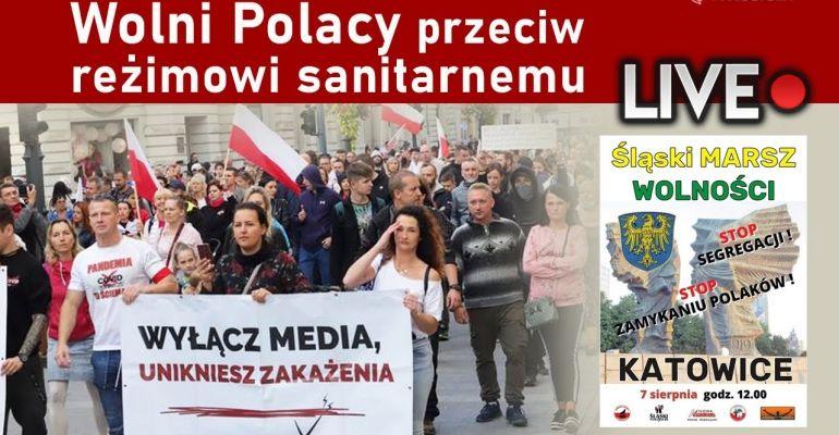 Wolni Polacy przeciw reżimowi sanitarnemu. MARSZ O WOLNOŚĆ! LIVE!