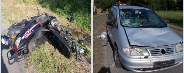 AKTUALIZACJA. NADOLANY: Dwie 17-latki poważnie ranne po tym, jak jadąc skuterem zderzyły się z osobówką (ZDJĘCIA)