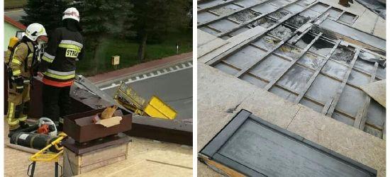 ZAGÓRZ: Pożar dachu. Czujni pracownicy budowlani (ZDJĘCIA)