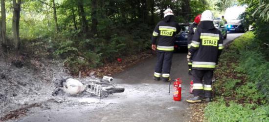 Zderzenie motocykla z osobówką. Jednoślad spłonął (ZDJĘCIA)