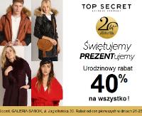 TOP SECRET: Urodzinowy rabat 40% na wszystko!