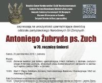 70. rocznica śmierci Antoniego Żubryda ps. Zuch. Uroczystości upamiętniające dowódcę