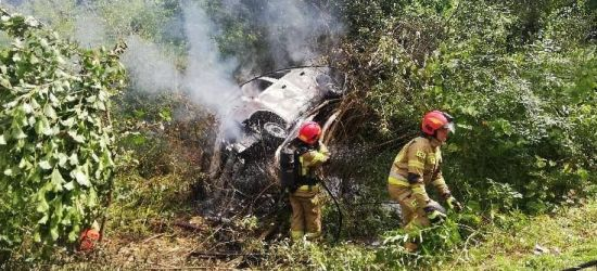 TREPCZA: Wpadł do rowu. Pojazd spłonął (ZDJĘCIA)