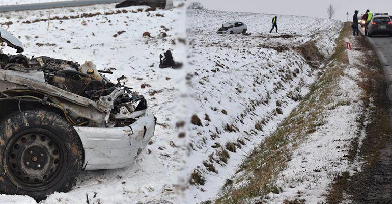 PODKARPACIE: Dachowanie toyoty. Ranny 43-latek wypadł z pojazdu (FOTO)