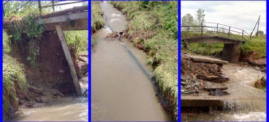 INTERWENCJA: Walący się mostek. Odsłonięta rura z gazem (ZDJĘCIA)