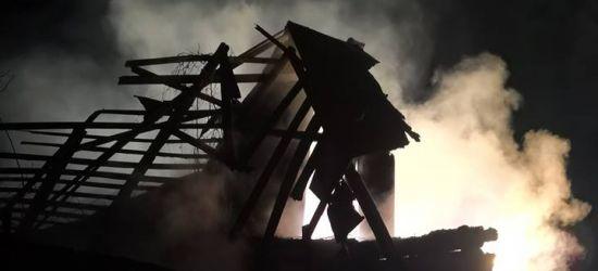 SANOK: Pożar budynku gospodarczego. Drewniany obiekt spłonął doszczętnie (ZDJĘCIA)