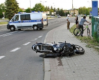 Wywrotka motocyklisty w Szczawnem