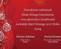 Życzenia bożonarodzeniowe wójta Beska oraz przewodniczącego rady gminy