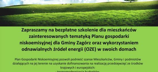 PLAN GOSPODARKI NISKOEMISYJNEJ DLA GMINY ZAGÓRZ – Zaproszenie na bezpłatne szkolenia