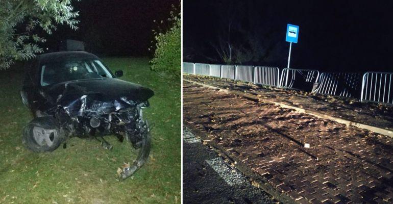 POWIAT SANOCKI. Kierowca BMW staranował barierki i uciekł! Był pijany (ZDJĘCIA)