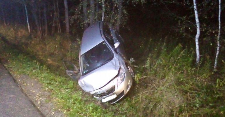 Nietrzeźwy kierowca opla wjechał do rowu