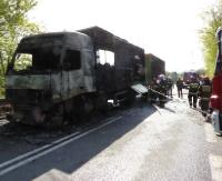 Spłonął samochód ciężarowy