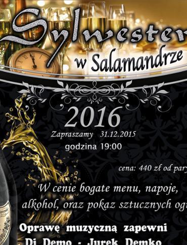 HOTEL SALAMANDRA ZAPRASZA NA WYSTRZAŁOWĄ ZABAWĘ SYLWESTROWĄ !!!