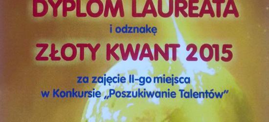 """Sanoczanin zdobył ,,Złoty Kwant"""" w ogólnopolskim konkursie ,,Poszukiwanie Talentów"""""""