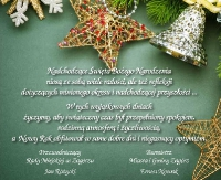 Życzenia bożonarodzeniowe burmistrza Zagórza oraz przewodniczącego Rady Miejskiej