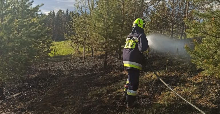 NIEBIESZCZANY. Wypalanie traw. Omal nie doszło do pożaru lasu (ZDJĘCIA)