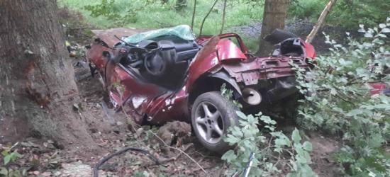 REGION: Nie żyje młody mężczyzna. Samochód rozbity o drzewo (ZDJĘCIA)