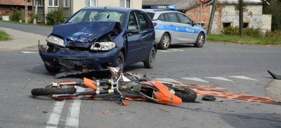 Wypadek z udziałem motocyklisty w Bziance (FOTO)