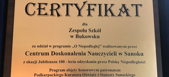 Certyfikat dla szkoły w Bukowsku