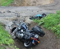 Harleyem uderzył w betonowy przepust. Interweniował śmigłowiec LPR (ZDJĘCIA)
