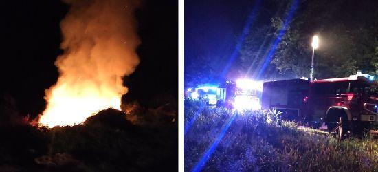 Nocny pożar odpadów drewnianych w Grabownicy (ZDJĘCIA)