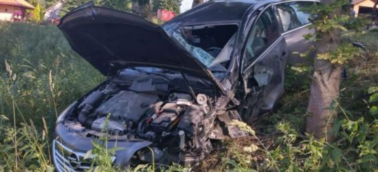 Uderzył w opla. Pojazd skończył jazdę na drzewie (ZDJĘCIE)
