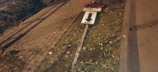 Uszkodził znak i uciekł z miejsca. Był pijany (FOTO)