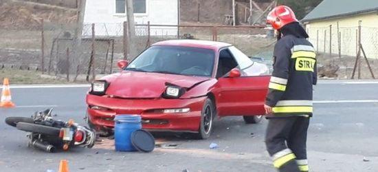 AKTUALIZACJA: Wypadek w Pisarowcach. Motocyklista z obrażeniami trafił do szpitala (ZDJĘCIA)