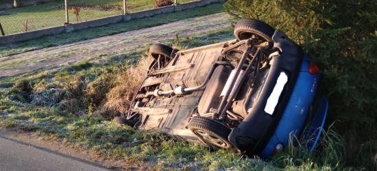 Samochód dachował w rowie. 4-letnie dziecko trafiło do szpitala (ZDJĘCIA)