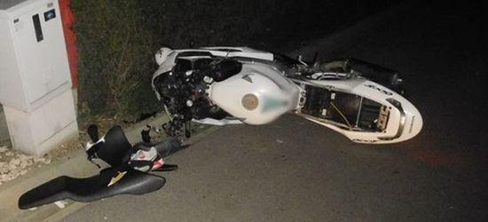 Pijany motocyklista wjechał w ogrodzenie. Miał 1,5 promila
