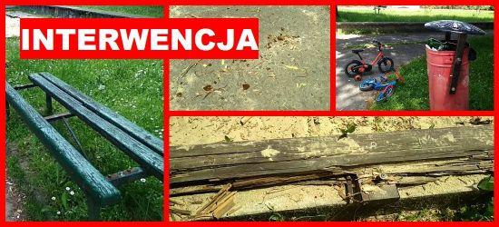 INTERWENCJA: Potłuczone szkło, zniszczone ławki, wyrwane deski (ZDJĘCIA)