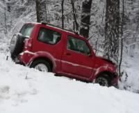 AKTUALIZACJA: Auto wypadło z drogi i uderzyło w drzewo (ZDJĘCIA)