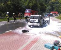 Fiat panda spłonął doszczętnie. Strażakom nie udało się uratować pojazdu (ZDJĘCIA)
