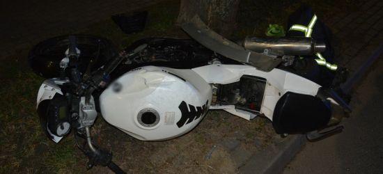 Poważne obrażenie młodego motocyklisty, po zderzeniu z samochodem (ZDJĘCIA)