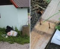 INTERWENCJA: Rozrzucone śmieci i gwoździe wystające z deski. Wszystko tuż obok wizytówki gminy (ZDJĘCIA)