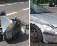 ZAŁUŻ: Chciał uniknąć zderzenia, zjechał na przeciwległy pas i uderzył w motocykl (ZDJĘCIA)