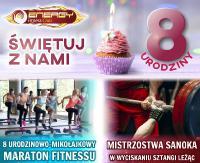Maraton Fitnessu i Mistrzostwa Sanoka w wyciskaniu sztangi leżąc na 8 urodziny Energy Fitness Club